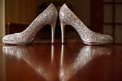 bride's silver wedding shoes