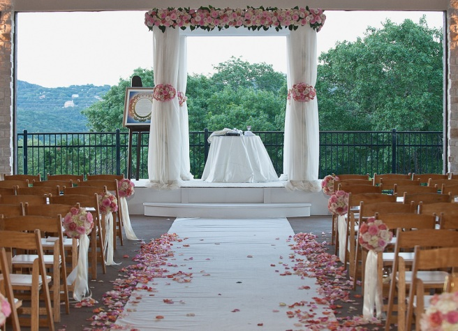 wedding ceremony aisle ready for processional