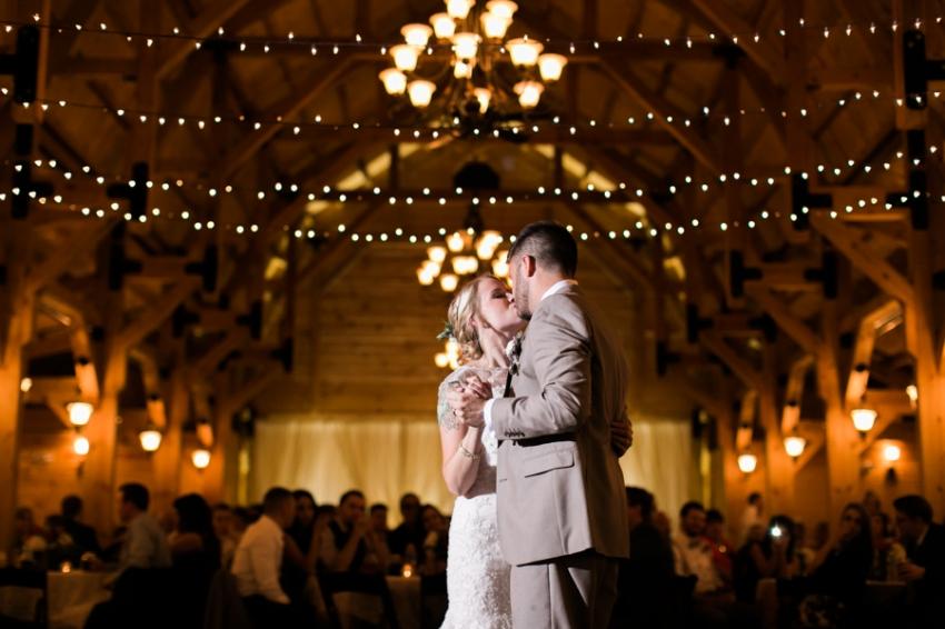 rustic wedding reception in a barn