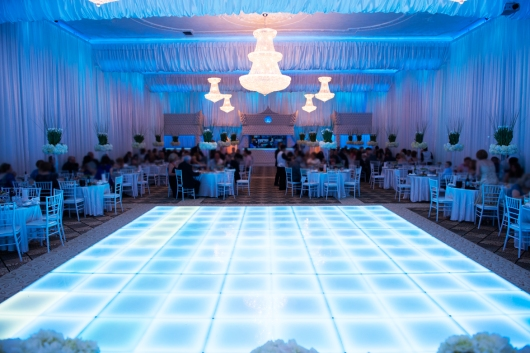 blue lighting wedding reception