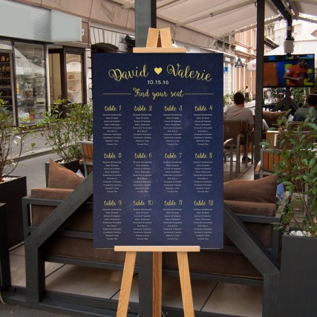 blue wedding seating chart
