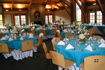 blue wedding reception table linens