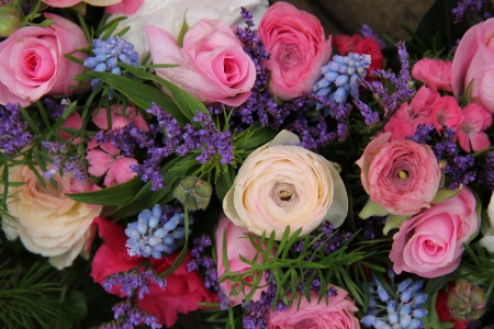 pink roses, ranunculus, and grape hyacinth