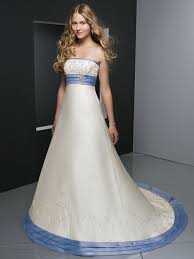 wedding gown with blue sash